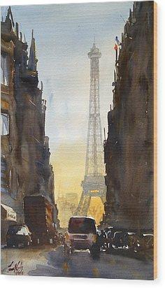Dawn In Paris Wood Print by James Nyika