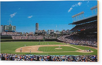 Day Game At Wrigley Field Wood Print by Anthony Doudt