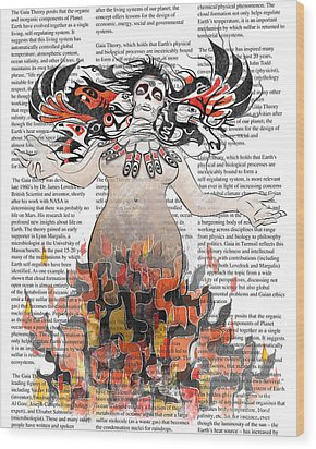 Day Of The Dead Gaia In Flames With Text Illustration Print Wood Print by Sassan Filsoof
