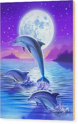 Day Of The Dolphin Wood Print by Robin Koni