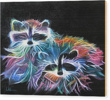 Dayglow Raccoons Wood Print by LaVonne Hand