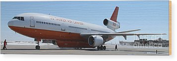 Wood Print featuring the photograph Dc-10 Air Tanker At Rapid City by Bill Gabbert