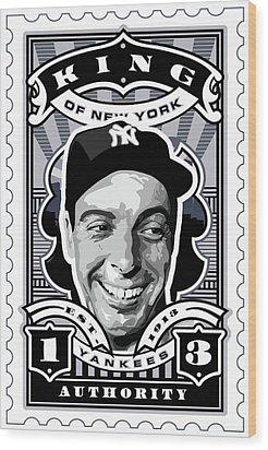 Dcla Joe Dimaggio Kings Of New York Stamp Artwork Wood Print by David Cook Los Angeles