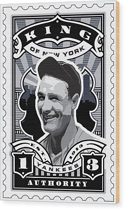 Dcla Lou Gehrig Kings Of New York Stamp Artwork Wood Print by David Cook Los Angeles