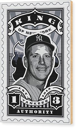Dcla Mickey Mantle Kings Of New York Stamp Artwork Wood Print by David Cook Los Angeles