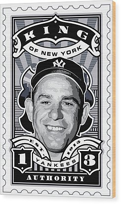 Dcla Yogi Berra Kings Of New York Stamp Artwork Wood Print by David Cook Los Angeles