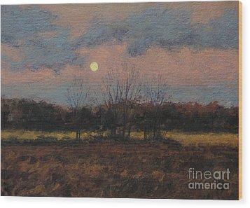 December Moon Wood Print by Gregory Arnett