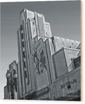 Deco Building In Black And White Wood Print by Gregory Dyer
