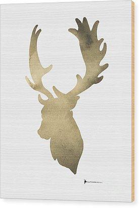 Deer Antlers Original Watercolor Art Print Wood Print by Joanna Szmerdt
