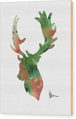 Deer Antlers Silhouette Watercolor Art Print Painting Wood Print by Joanna Szmerdt