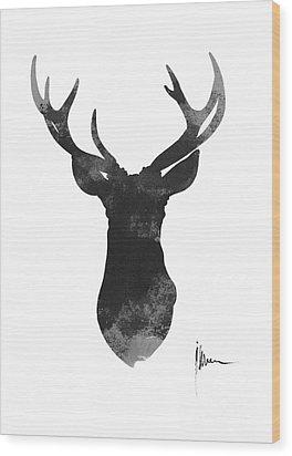 Deer Antlers Watercolor Painting Art Print Wood Print by Joanna Szmerdt