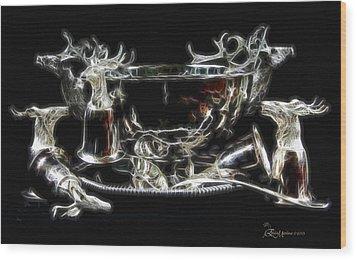 Deer Punch Bowl Set Wood Print by EricaMaxine  Price