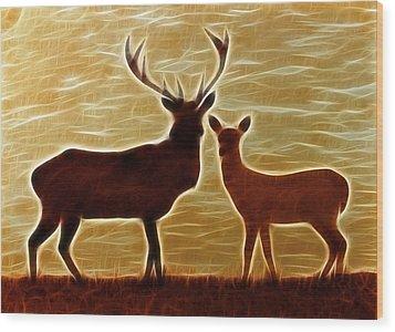 Deers Lookout Wood Print by Georgeta Blanaru