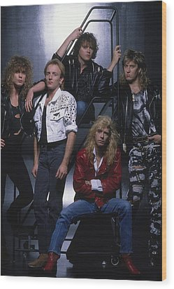Def Leppard - Group Stairs 1987 Wood Print by Epic Rights