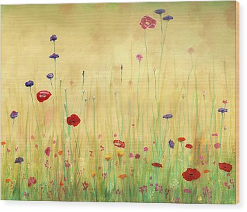 Delicate Poppies Wood Print by Cecilia Brendel