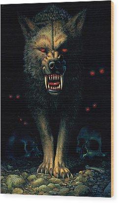 Demon Wolf Wood Print by MGL Studio - Chris Hiett