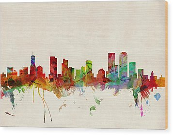 Denver Colorado Skyline Wood Print by Michael Tompsett