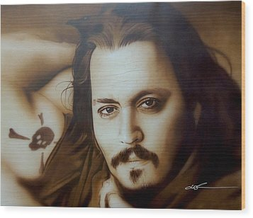 Johnny Depp - ' Depp II ' Wood Print by Christian Chapman Art