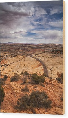 Desert Road Wood Print by Andrew Soundarajan