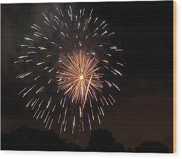 Detroit Area Fireworks -10 Wood Print by Paul Cannon