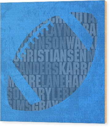 Detroit Lions Football Team Typography Famous Player Names On Canvas Wood Print by Design Turnpike
