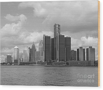 Detroit Skyscape Wood Print by Ann Horn
