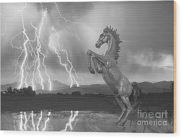 Dia Mustang Bronco Lightning Storm Bw Wood Print by James BO  Insogna