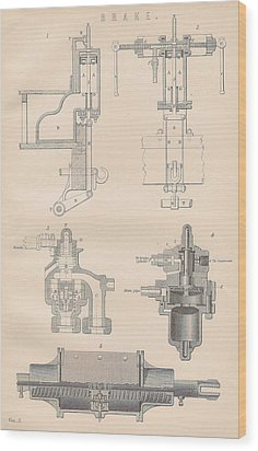 Diagram Of A Brake Wood Print by Anon