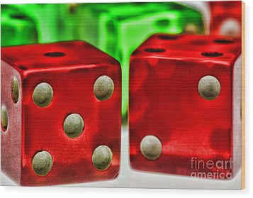 Dice - Lucky Seven Wood Print by Paul Ward