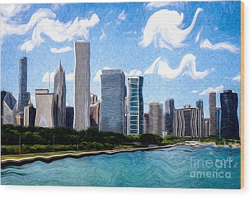 Digitial Painting Of Downtown Chicago Skyline Wood Print by Paul Velgos