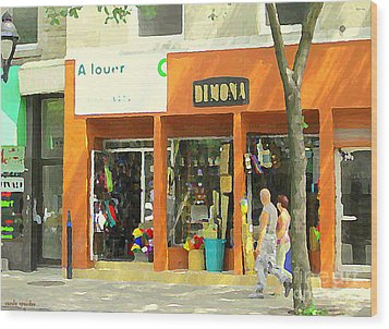 Dimona Latin Quarter Romantic Morning Summer Stroll Pretty Streets Montreal City Scene C Spandau Wood Print by Carole Spandau