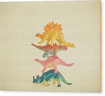 Dinosaur Antics Wood Print by Cassia Beck
