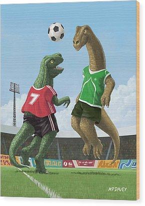 Dinosaur Football Sport Game Wood Print by Martin Davey