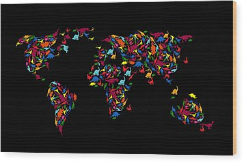 Dinosaurs Map Of The World   Wood Print by Mark Ashkenazi