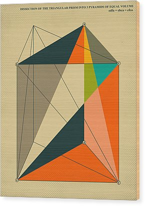 Dissection Of The Triangular Prism Into 3 Pyramids Of Equal Volume Wood Print by Jazzberry Blue