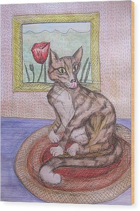 Distracted Cat Wood Print by Cherie Sexsmith