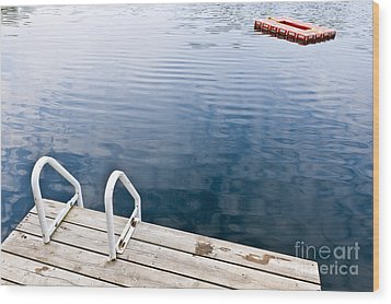Dock On Calm Summer Lake Wood Print by Elena Elisseeva