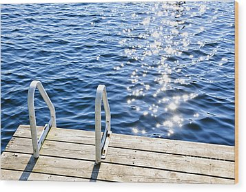 Dock On Summer Lake With Sparkling Water Wood Print by Elena Elisseeva