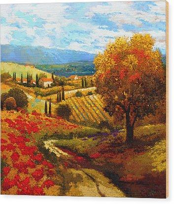 Dodogne Vineyard Wood Print by Kanayo Ede