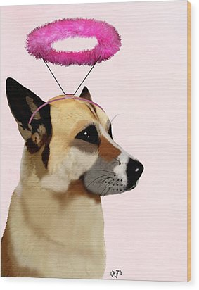 Dog With Pink Halo Wood Print by Kelly McLaughlan