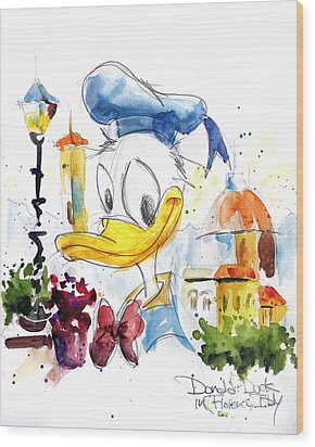 Donald Duck In Florence Italy Wood Print by Andrew Fling