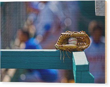 Don't Forget Your Glove Wood Print by Michael Misciagno