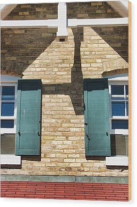 Door County Eagle Bluff Lighthouse Shutters Wood Print by Christopher Arndt