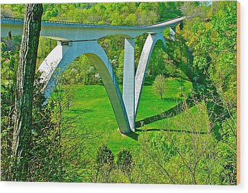 Double-arched Bridge Spanning Birdsong Hollow At Mile 438 Of Natchez Trace Parkway-tennessee Wood Print by Ruth Hager