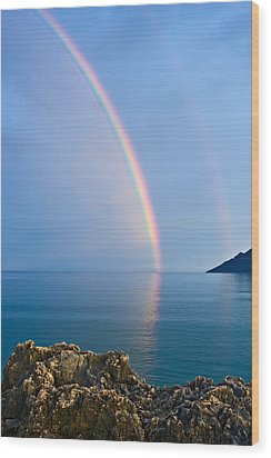 Double Rainbow Wood Print by Christos Andronis