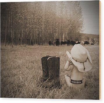 Down On The Farm Wood Print by Kami McKeon