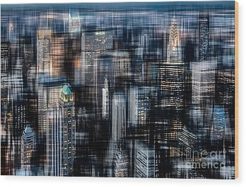 Downtown At Night Wood Print by Hannes Cmarits