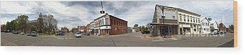 Downtown Montezuma Iowa Panorama Wood Print by Gregory Dyer