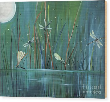 Dragonfly Diner Wood Print by Carol Sweetwood