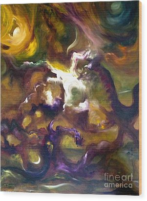 Dragons Wood Print by Michelle Dommer